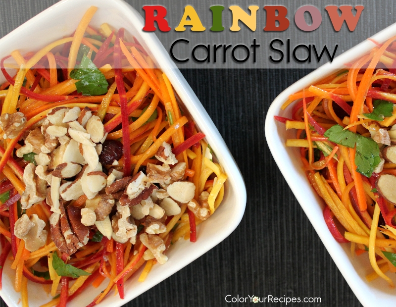 Simple Rainbow Carrot Slaw Recipe (3) ~ Color Your Recipes