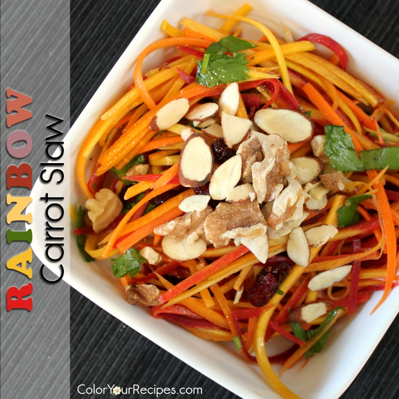 Simple Rainbow Carrot Slaw Recipe (5) ~ Color Your Recipes