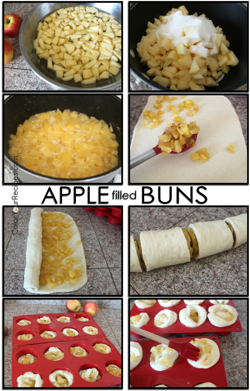 Simple Apple Filled Buns Recipe (3) ~ Color Your Recipes