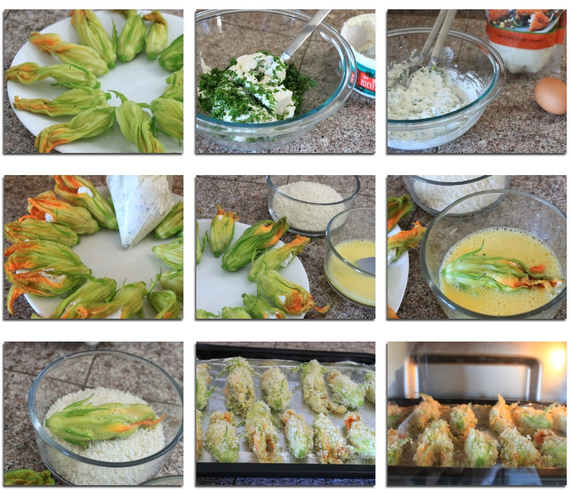 Simple Baked Zucchini Blossoms with Panko Recipe (2) ~ Color Your Recipes