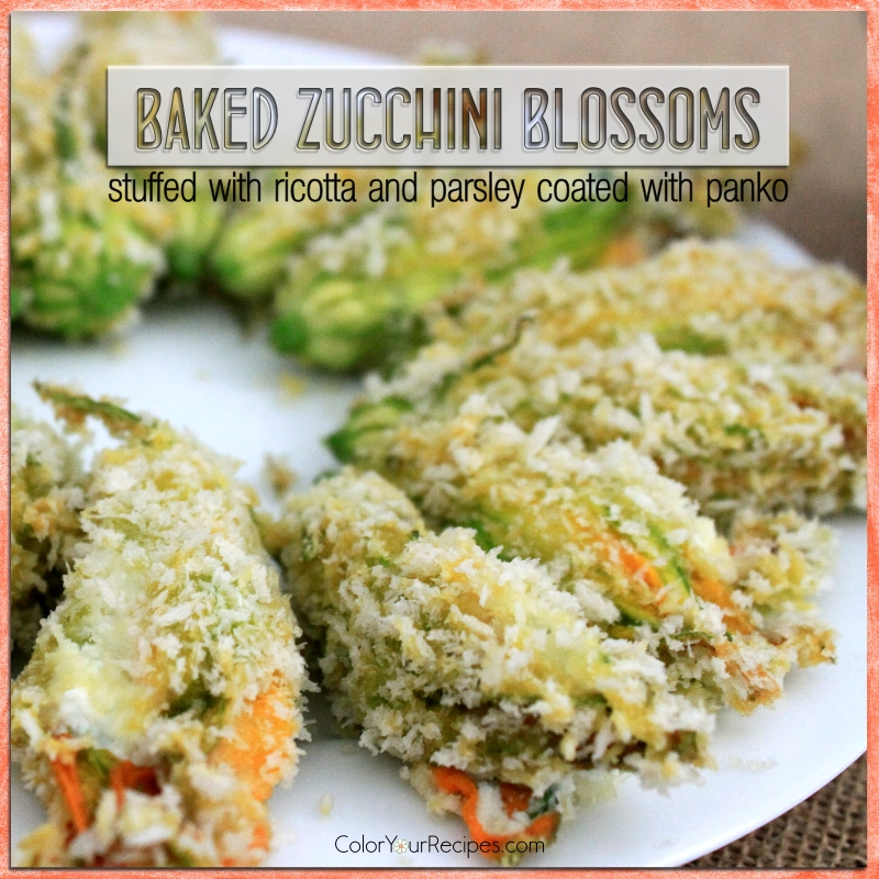 Simple Baked Zucchini Blossoms with Panko Recipe (4) ~ Color Your Recipes