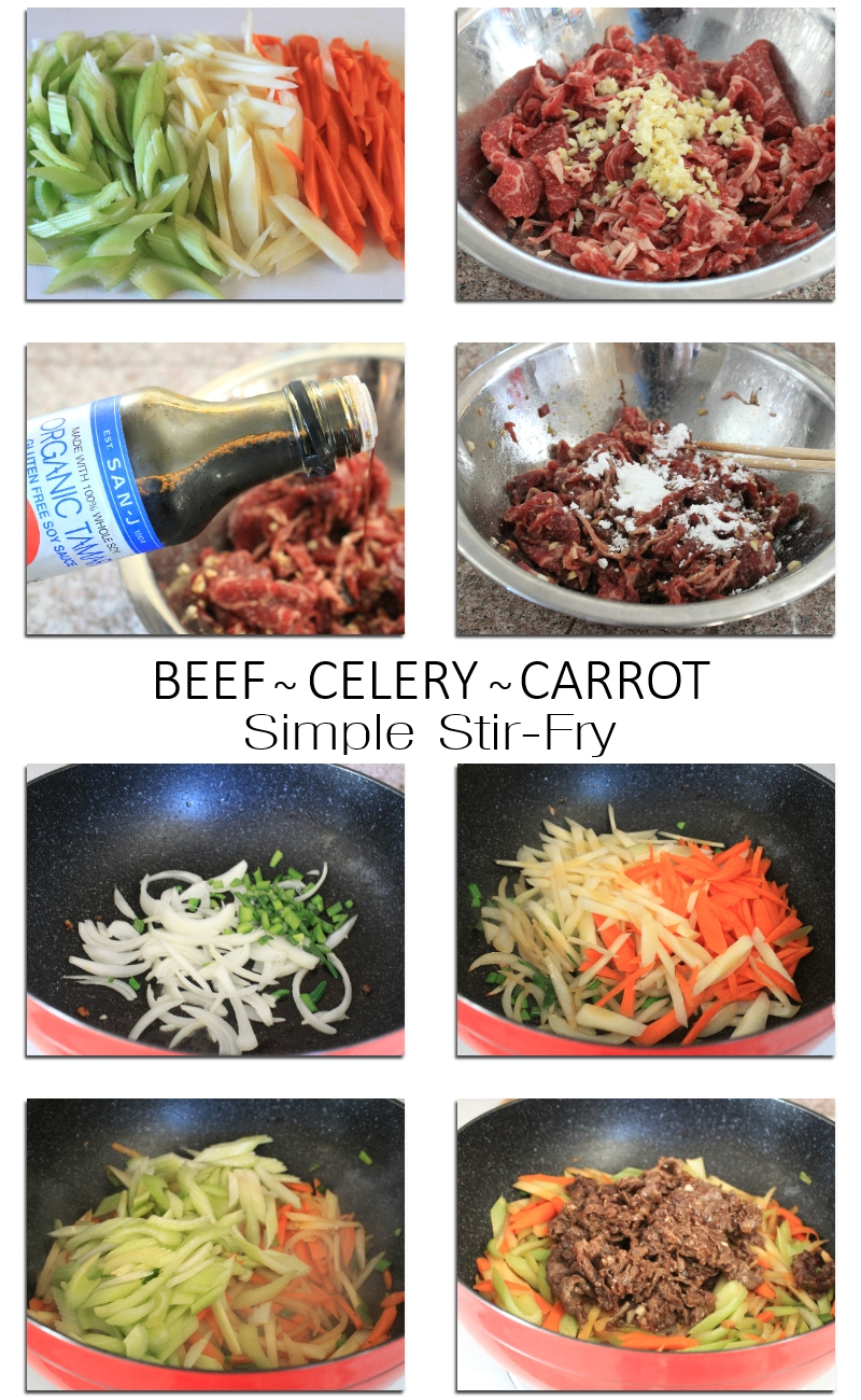 Simple stir fry beef with celery and carrots recipe (2) ~ Color Your Recipes